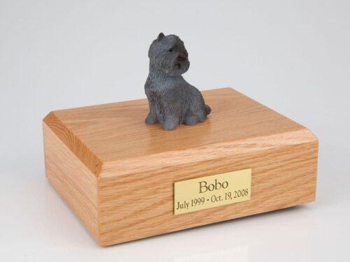 Black Cairn Terrier figurine cremation urn w/wood box