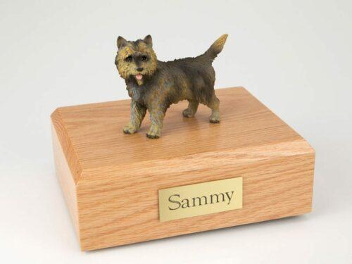 Brindle Cairn Terrier figurine cremation urn w/wood box