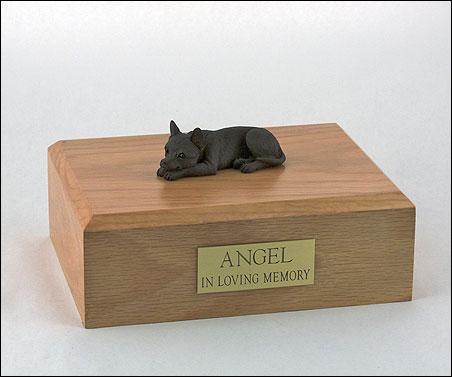 Chihuahua figurine cremation urn w/wood box