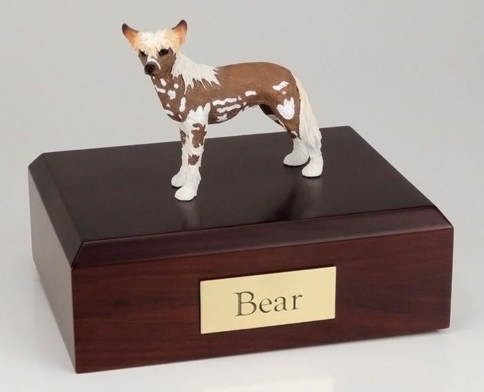Chinese Crested Dog Figurine Cremation Urn W/wood Box
