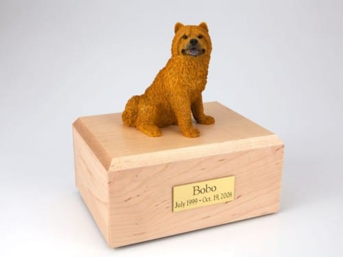 Chow Chow figurine cremation urn w/wood box