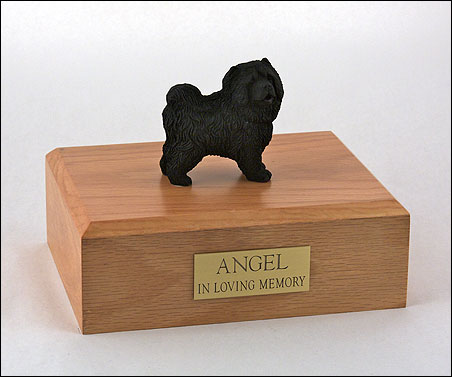 Black Chow Chow figurine cremation urn w/wood box