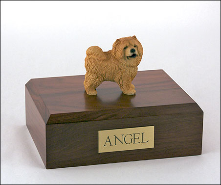 Red Chow Chow figurine cremation urn w/wood box