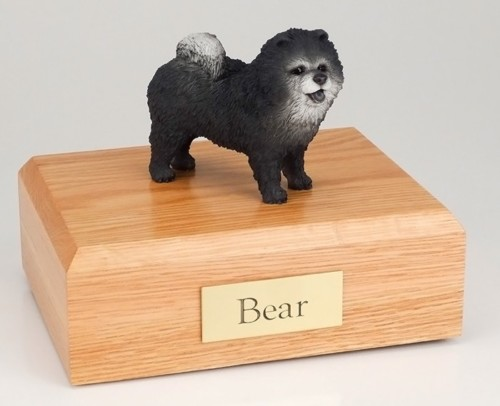 Blue Chow Chow figurine cremation urn w/wood box