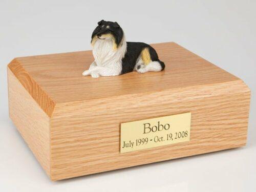 Collie figurine cremation urn w/wood box