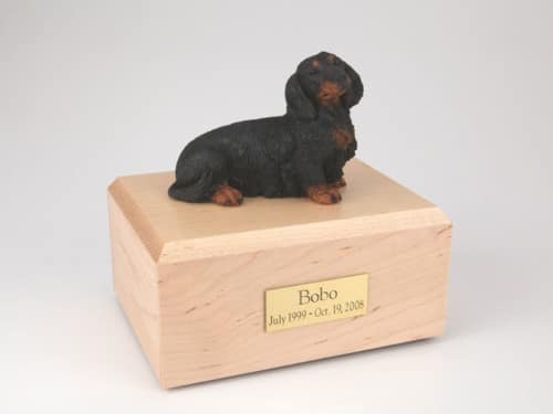 Black Dachshund figurine cremation urn w/wood box