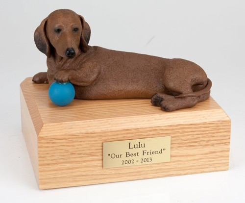 Red Dachshund figurine cremation urn w/wood box