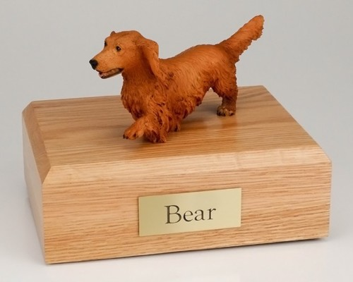Walking Dachshund figurine cremation urn w/wood box