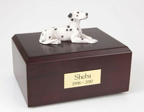 Dalmatian figurine cremation urn w/wood box