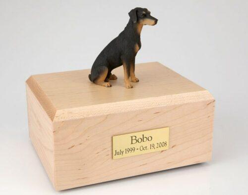 Doberman figurine cremation urn w/wood box