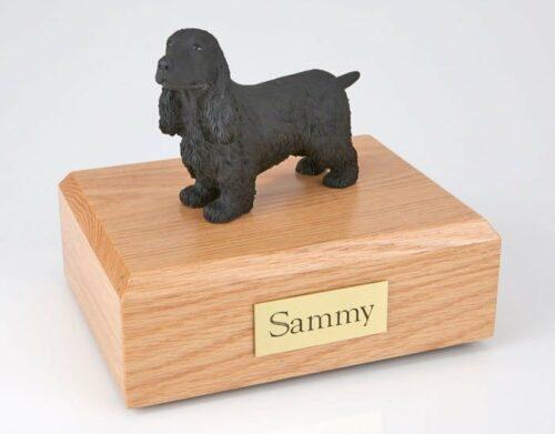 English Cocker Spaniel figurine cremation urn w/wood box