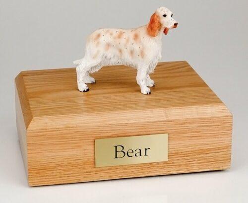 Orange Belton English Setter figurine cremation urn w/wood box