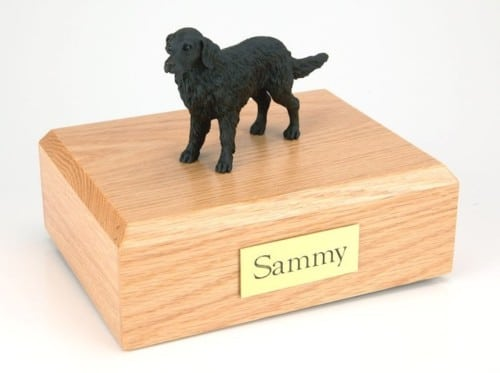 Flat Coated Retriever figurine cremation urn w/wood box