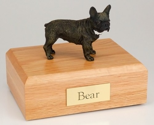 French Bull figurine cremation urn w/wood box