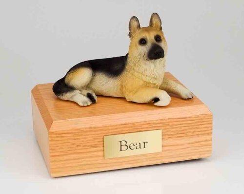 German Shepherd figurine cremation urn w/wood box
