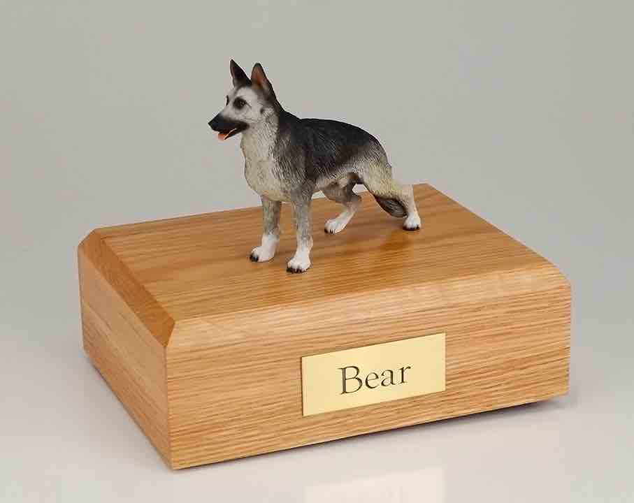 german shepherd cremation figurine urn w  wooden storage box