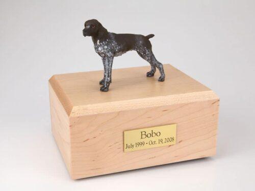 German Shorthair figurine cremation urn w/wood box