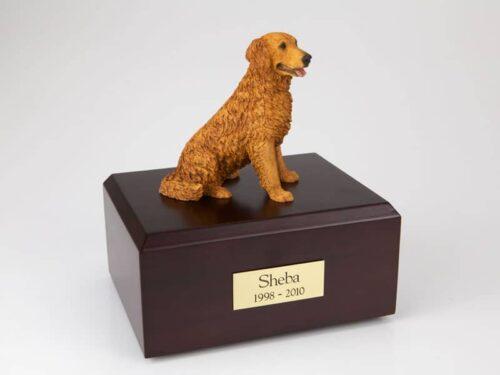 Golden retriever figurine urn w/wood box, sitting