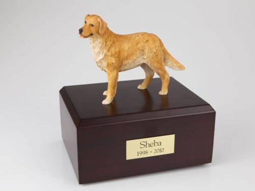 Golden retriever figurine urn w/wood box, standing