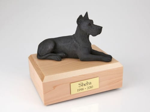 Great Dane figurine cremation urn w/wood box
