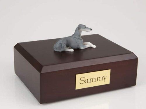 Greyhound figurine cremation urn w/wood box