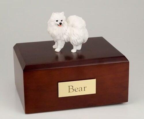 Miniature american eskimo dog figurine cremation urn w/wood box,