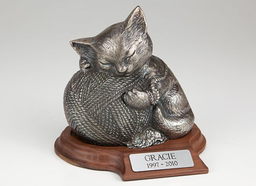Silver finish urn for cat cremation ashes