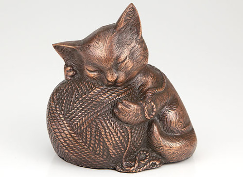 Copper finish cat urn