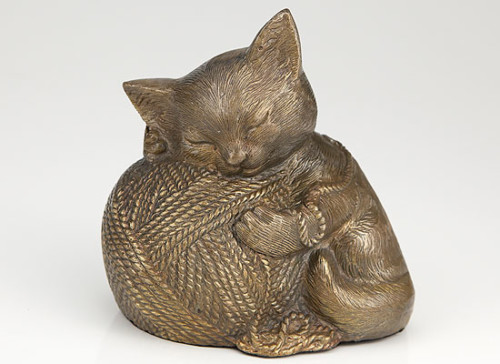 gold finish cat urn