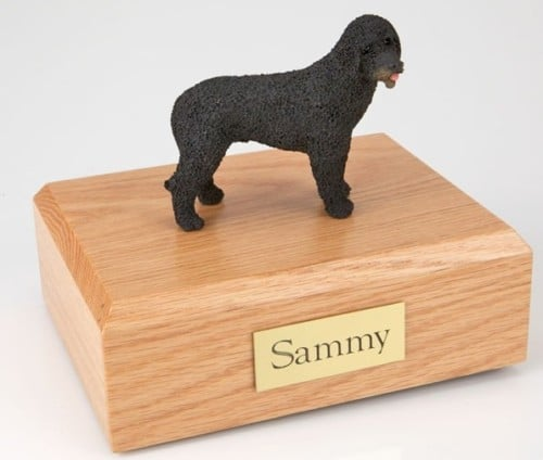 Portuguese Water Dog figurine cremation urn w/wood box