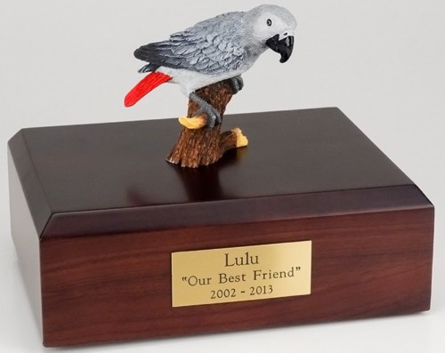African Gray Parrot figurine cremation urn w/wood box