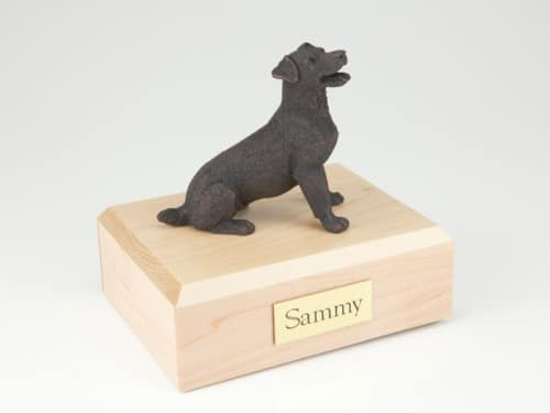 Bronze look Jack Russell Terrier figurine cremation urn w/wood box