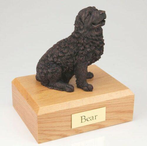 Bronze Look Newfoundland figurine cremation urn w/wood box