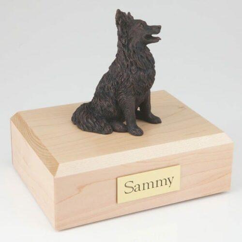 Bronze-look Papillon figurine cremation urn w/wood box