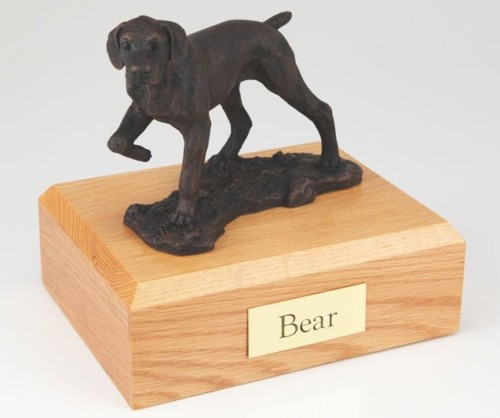 Bronze-look Pointer figurine cremation urn w/wood box
