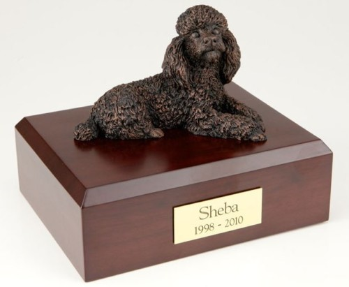 Bronze-look Poodle figurine cremation urn w/wood box