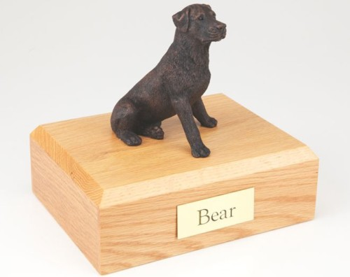 Bronze-look Rottweiler figurine cremation urn w/wood box
