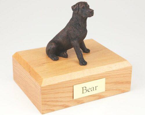 Bronze-look Rottweiler figurine cremation urn w/wood box