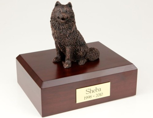 Bronze-look Samoyed figurine cremation urn w/wood box