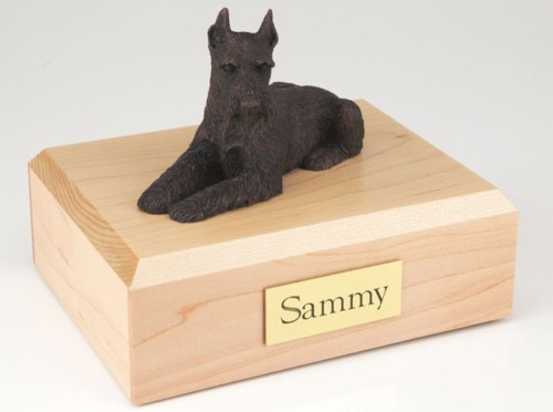 Bronze-look Schnauzer figurine cremation urn w/wood box