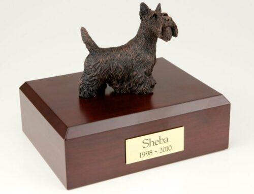 Bronze-look Scottish Terrier figurine cremation urn w/wood box