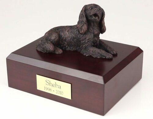 Bronze Look King Charles Spaniel figurine cremation urn w/wood box