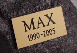 Weather resistant plastic nameplate for memorial urns. Squared edges. Includes free engraving.
