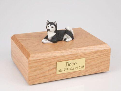 Husky figurine cremation urn w/wood box