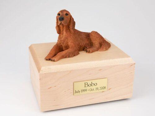 Irish Setter figurine cremation urn w/wood box