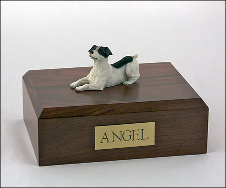 Jack Russell Terrier figurine cremation urn w/wood box