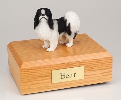 Japanese Chin figurine cremation urn w/wood box