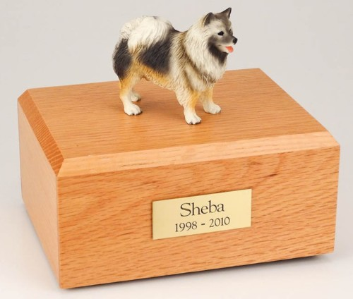 Keeshond figurine cremation urn w/wood box