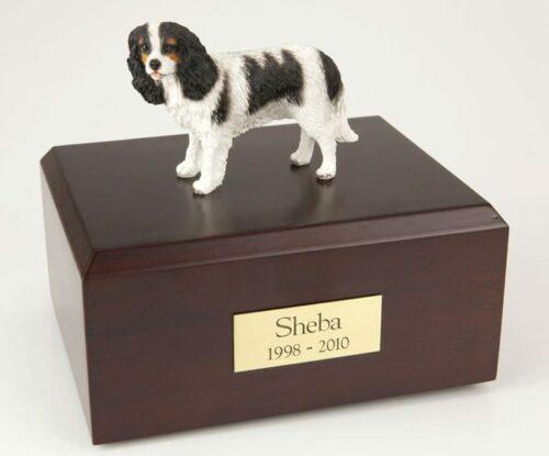 Black King Charles Spaniel figurine cremation urn w/wood box