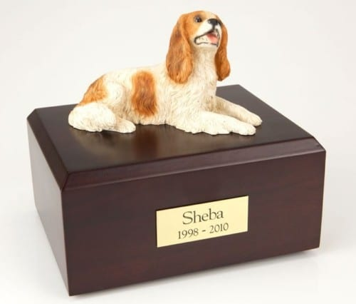 Brown King Charles Spaniel figurine cremation urn w/wood box